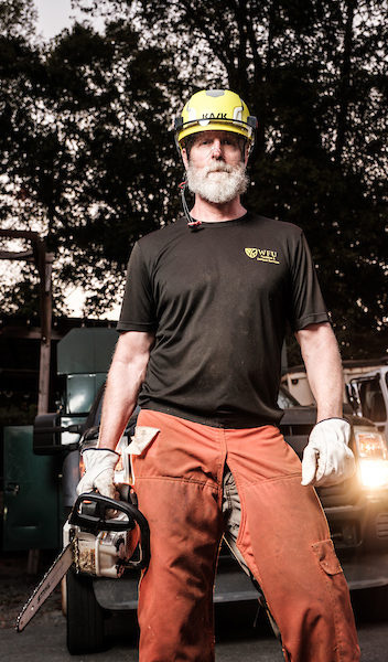 Jim Mussetter in orange work chaps and a helmet holds a chain saw, cutting an impressive figure, but he has a soft heart for trees. His team plants a new tree on average every two days.