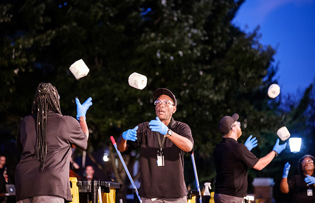 Custodians Cynthia Wilson, Bernard Clowers, London Thomas and Brenda Wall show their juggling expertise during the performance.
