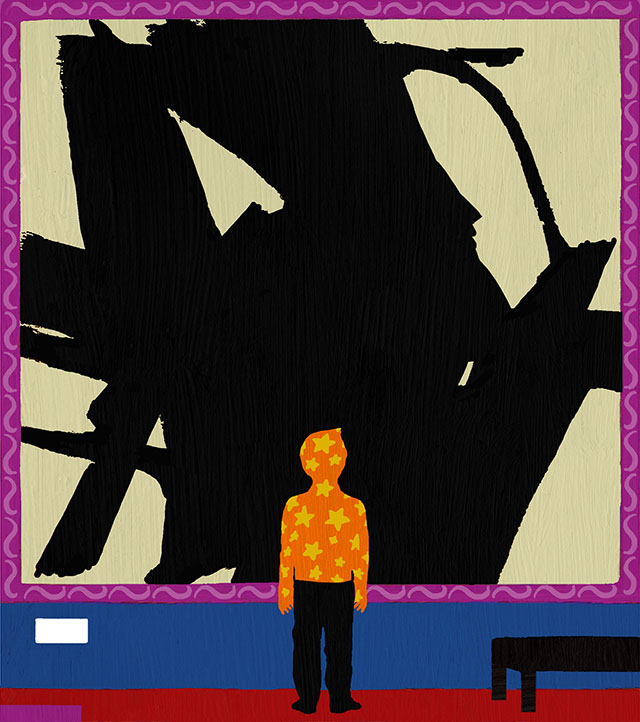 An illustration of a boy standing in front of a Franz Kline painting