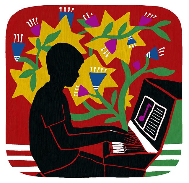 Illustration of boy playing piano