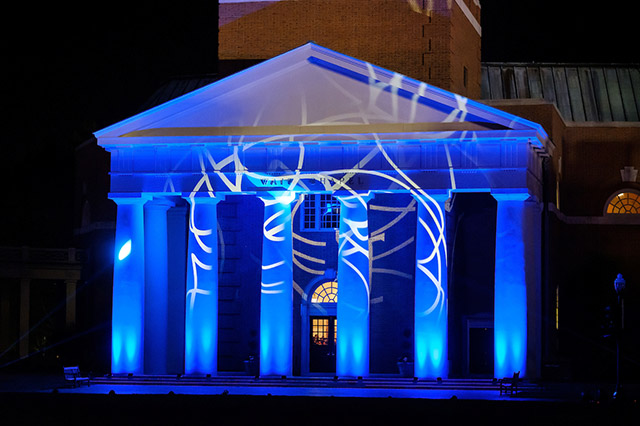From the Ground UpPurple theatre lights bathe Wait Chapel's columns.