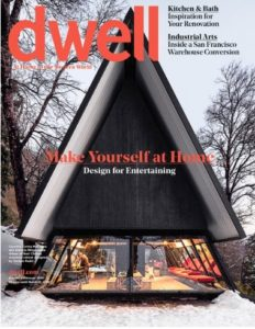Cover of Dwell Magazine with an A-frame cabin