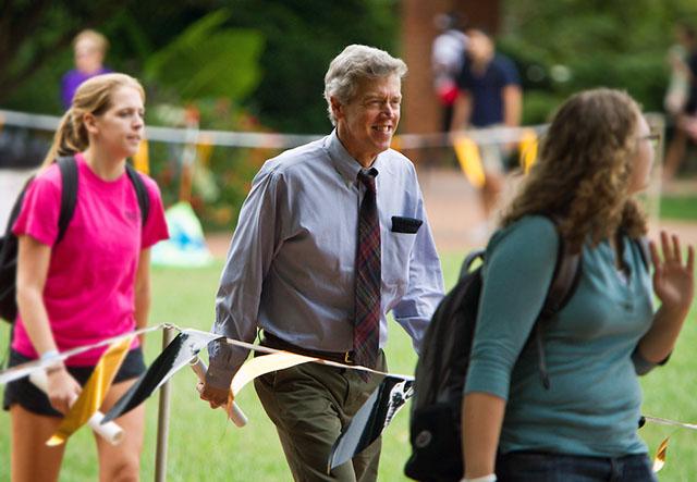 Bill Wells walks around Hearn Plaza during Hit the Bricks