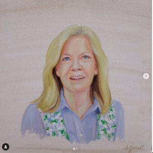 Oil portrait of Melanie Barbee (MBA '87, P '19), the owner of Rolly's Baby Boutique in Winston-Salem, painted by Anna Jarrell ('05)