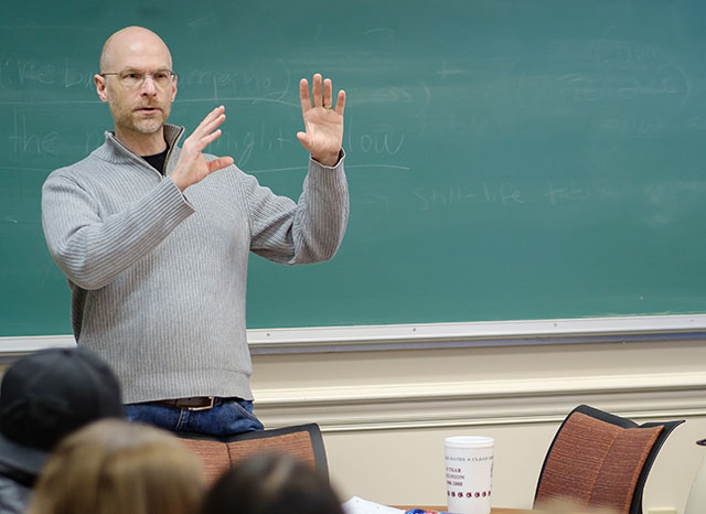 "Wake Forest philosophy professor Adrian Bardon teaches his first year seminar, ""Philosophy Goes to the Movies!"", an exploration of the tough philosophical problems often found in film, in Tribble Hall"