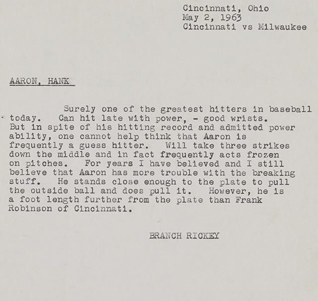 Branch Rickey's scouting report on Hank Aaron