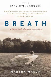 "Cover of Martha Mason book ""Breath: A LIfetime in the Rhythm of an Iron Lung"" with a photo of a girl running in a field with a white chiffon flowing behind her."