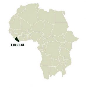 Map of Africa highlighting Liberia