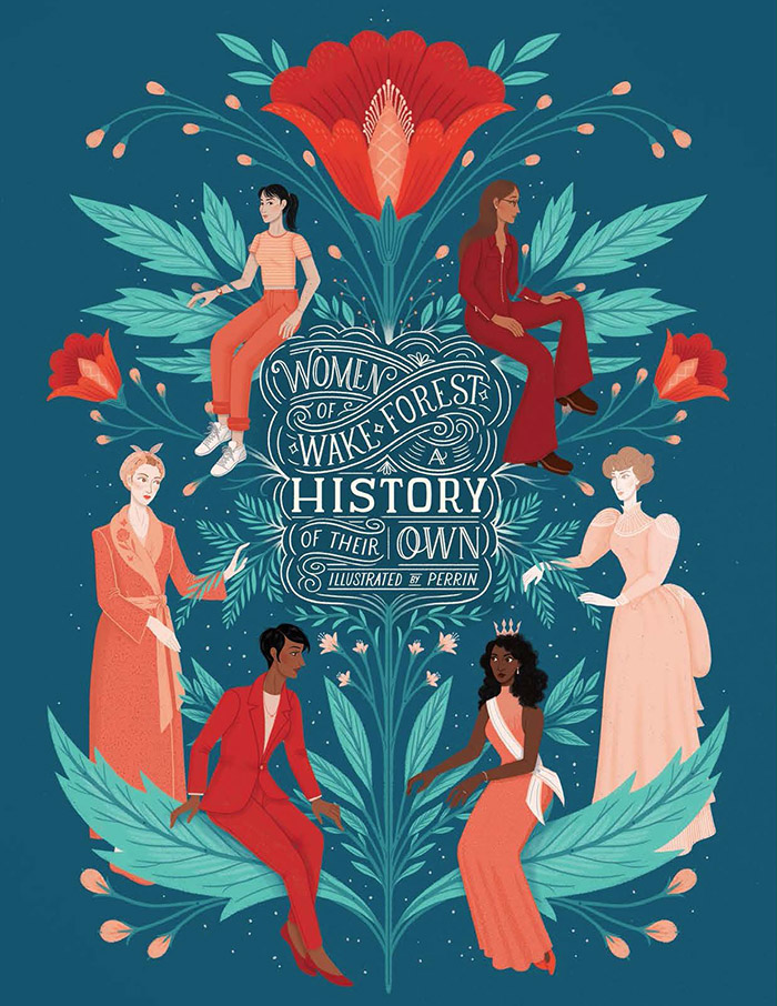 Illustration by Lisa Perrin showing women through WFU history