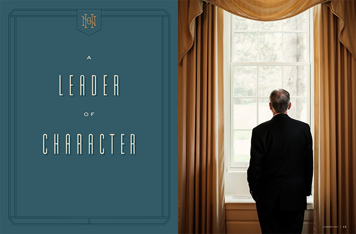 Opening spread of the feature story shows Hatch looking out of a Reynolda Hall window