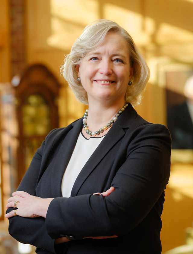 Susan Wente on the Wake Forest campus on January 30, 2021, shortly after she was named president of the University.