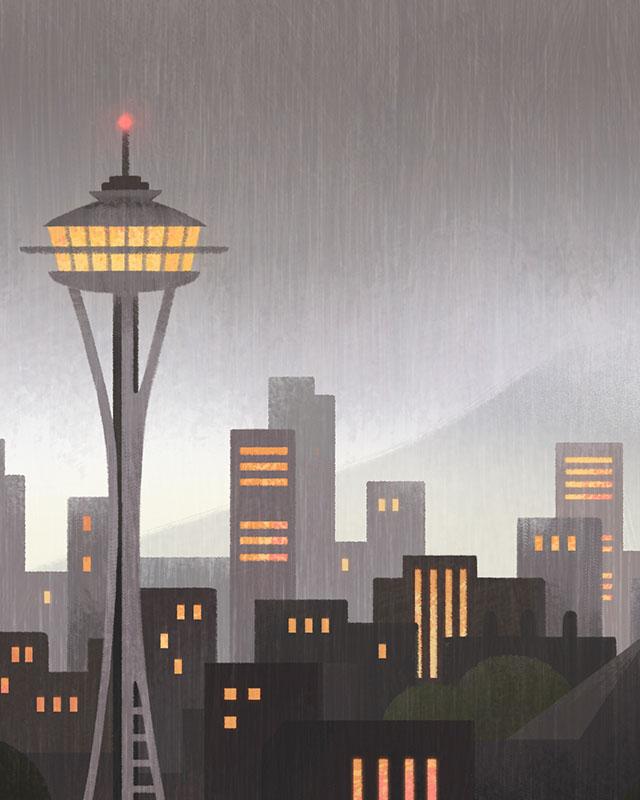 Ileana Soon illustration of Seattle skyline
