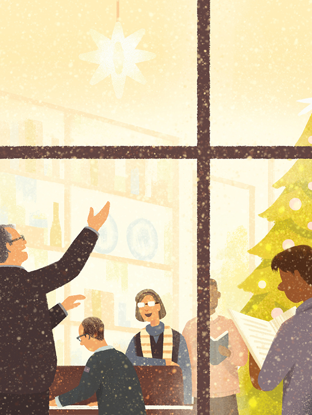 Ileana Soon illustration of Dr. Hatch leading a group singing Christmas carols around the piano.