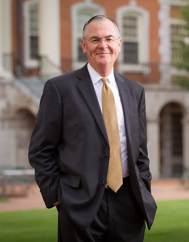Wake Forest President Nathan O. Hatch poses on Hearn Plaza.