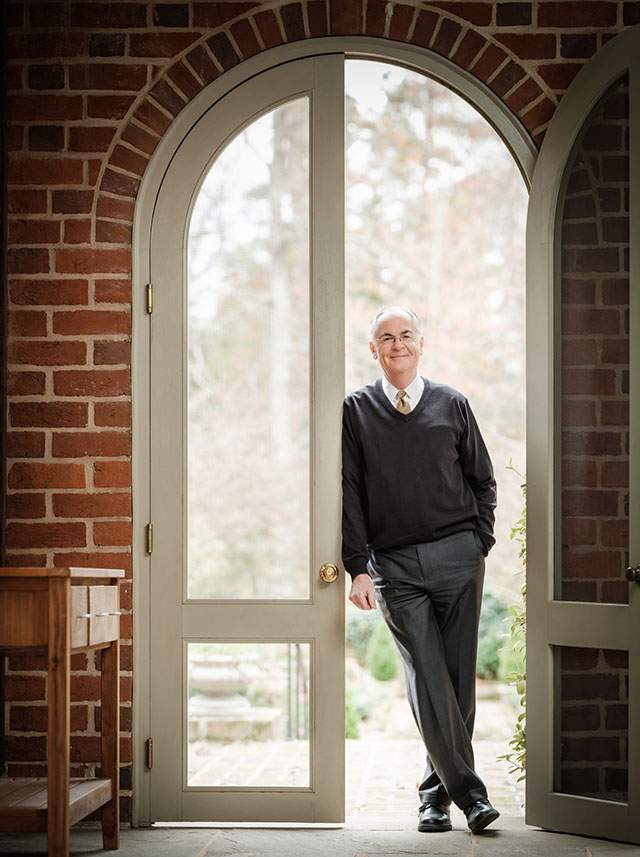 Wake Forest President Nathan O. Hatch poses at the President's Home