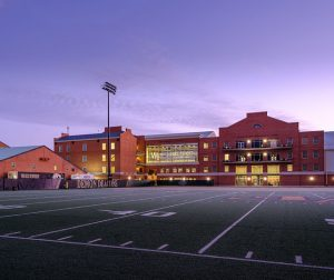 The Wake Forest athletics complex as seen from the football practice field before sunrise on Tuesday, January 19, 2021. The Miller Center, Shah Basketball Complex, Sutton Sports Performance Center, and McCreary Field House.