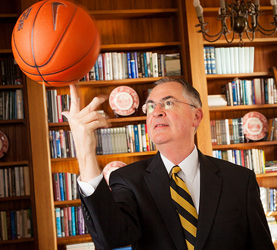Wake Forest President Nathan O. Hatch works in his office in Reynolda Hall.