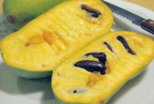 cut open yellow pawpaw fruit