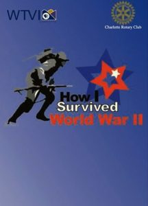 """A red, white and blue poster from Chris Hudson's documentary """"How I Survived World War II' with an icon of a soldier."""