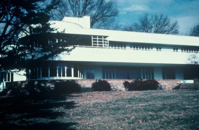 """The modernist mansion Merry Acres, aka """"The Ship,"""" was originally the home of Dick Reynolds Jr. and his wife, Blitz, was donated to Wake Forest in the 1970s. It has since been torn down."""