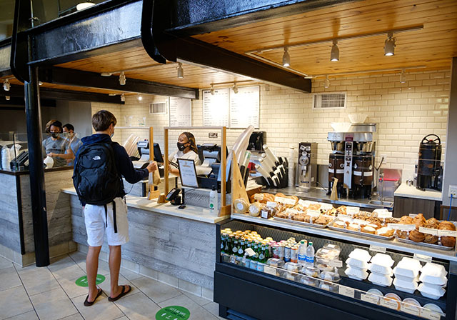 A Wake Forest student gets breakfast at the new Camino Bakery location inside the Z. Smith Reynolds Library, on the first day of classes, Wednesday, August 26, 2020.