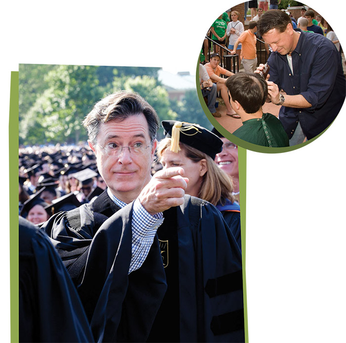 The 2015 Commencement address was delivered by late-night TV host Stephen Colbert.