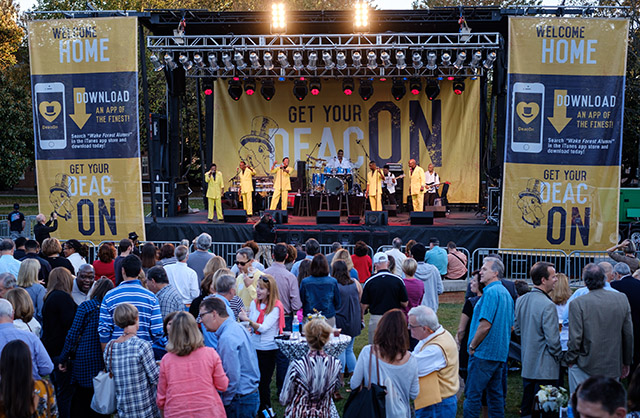 Wake Forest hosts Party So Dear on Manchester Plaza with a performance by The Spinners. Ken Bennett photo