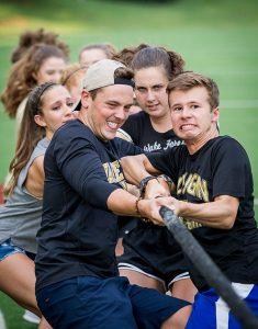 New Wake Forest students compete against each other in the annual Pros versus Joes.