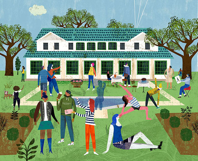 A whimsical illustration of the Reynolda Estate by Martin Haake