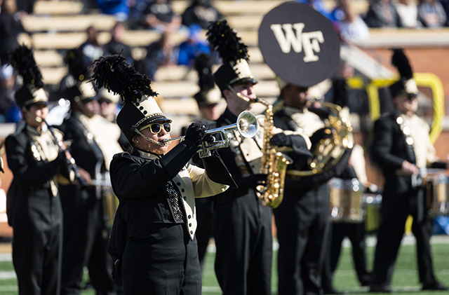 Spirit of the Old Gold and Black (SOTOGAB) play during halftime of Wake's football game against Duke in 2017.