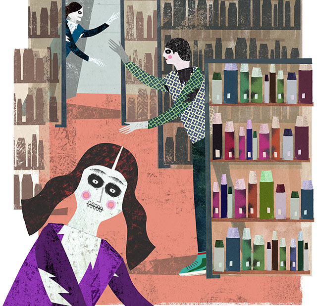Humans vs. Zombies in ZSR Library, as depicted by illustrator Martin Haake