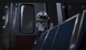 """a boy with an oversized astronaut helmet in a screen grab from """"Why Not Me"""" about an animated character named Aku who wants to be an astronaut."""