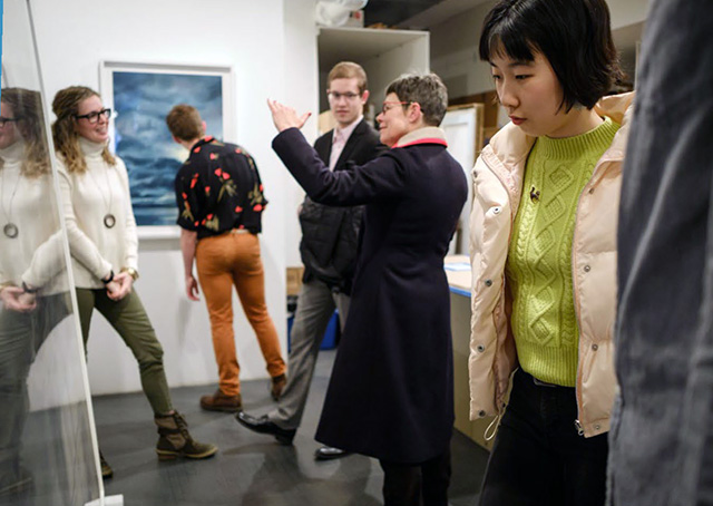 Wake Forest students travel to New York to purchase artwork for the Student Union Collection of Contemporary Art on March 9, 2017.