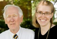 Chaplain Emeritus Ed Christman ('50, JD '53) and Emily Brewer ('98 BA, '03 MA) at the Festival on the Quad during Homecoming 2007.