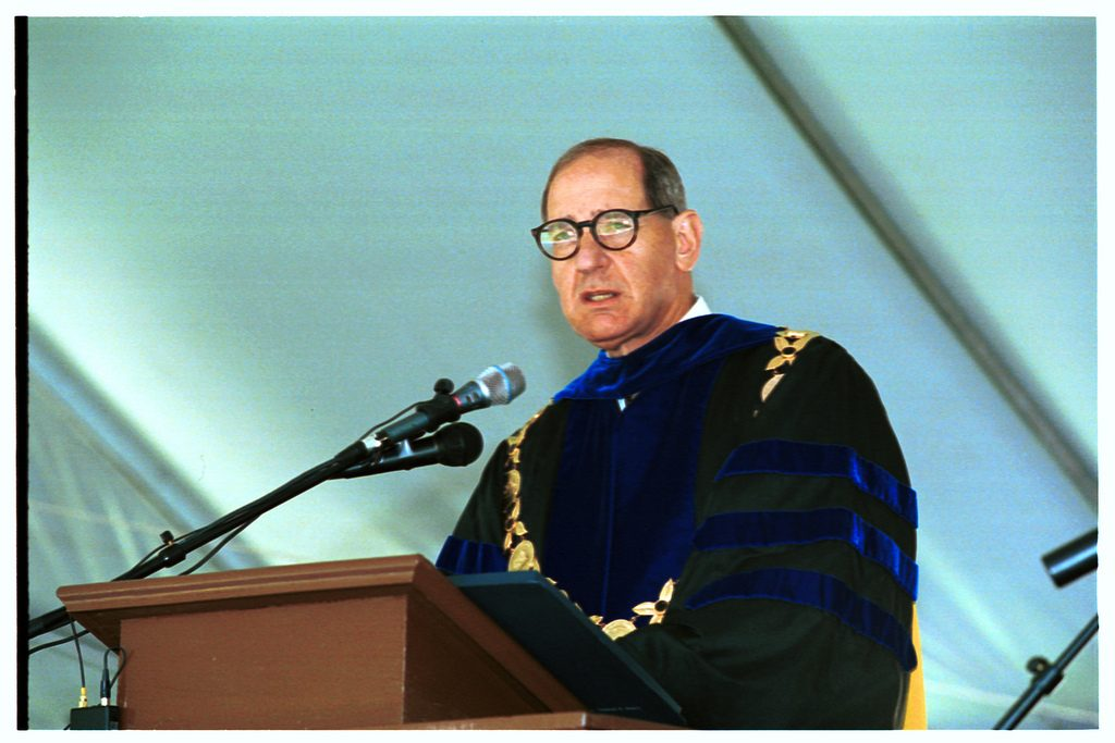 WFU president Thomas K Hearn, Jr., addresses the graduates at commencement 2000.