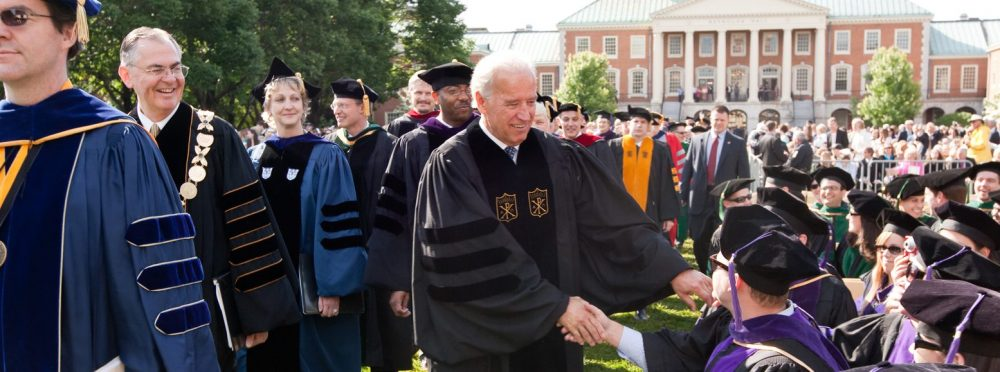 Vice President Joe Biden greets students during the processional on Hearn Plaza.