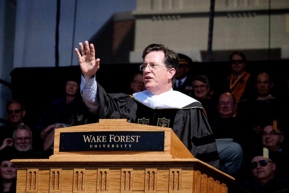 Stephen Colbert gives the commencement address