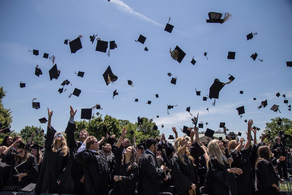 Wake Forest University holds its 2016 Commencement Ceremony on Hearn Plaza on Monday, May 16, 2016.
