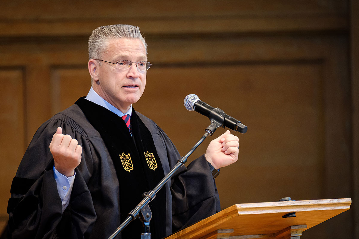 Wake Forest University hosts the Baccalaureate Service in Wait Chapel on Sunday, May 19, 2019, to celebrate the class of 2019. Gary A. Haugen, the CEO and Fiounder of International Justice Mission, gives the Baccalaureate Address.