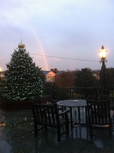 The view from Reynolda Hall facing the Mag Quad after heavy rains on Dec. 7, 2011.
