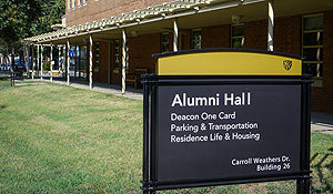 Alumni Hall sign
