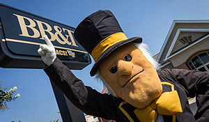 The Demon Deacon mascot at the BB&T Spirit Branch.