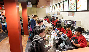 Students order in Subway.
