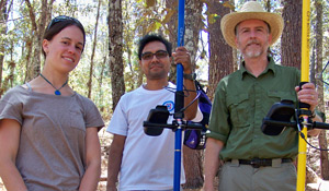 Steve Whittington (right) worked on GPS mapping with Kate Yeske ('07, left).