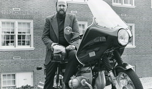John Litcher on motorcycle (1977)