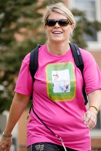 Rachel Weaver walks at Hit the Bricks in support of Chip Patterson.