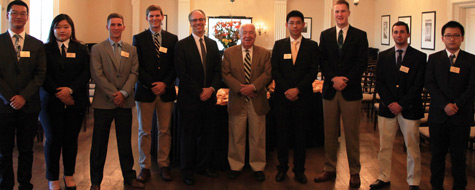 Provost Rogan Kersh, Provost Emeritus Ed Wilson and the student leaders of The Media