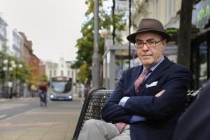 The poet Ciaran Carson in Royal Avenue, Belfast, N.Ireland.