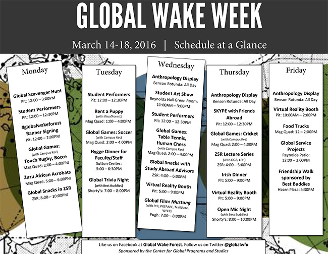 Events calendar for Global Wake Week