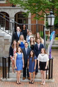 A group photo of the new Wake Forest Fellows for the 2016-17 academic year, in front of Reynolda Hall on Wednesday, April 27, 2016.